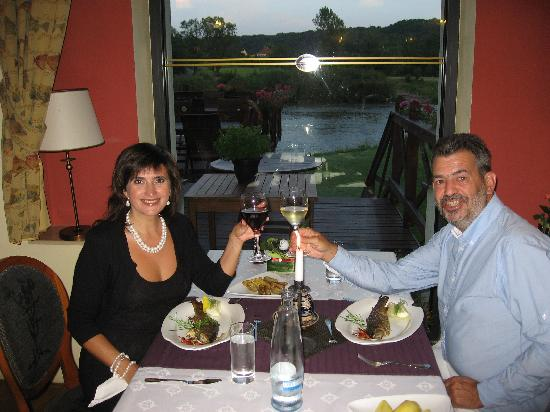 Romantic Hotel Mlyn Karlstejn : A candlelight dinner. Fresh fish but awful potato