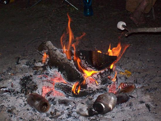 Ginnie Springs : Evening fire at campsite