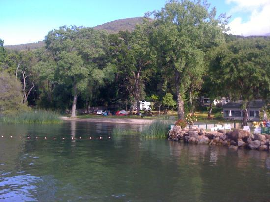 Edgewater Resort and RV Park: View of campground from fishing dock.