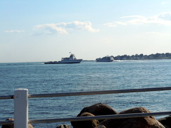 Groton, CT: going out - the fast ferry to Block Island. coming in - the car ferry from Long Island