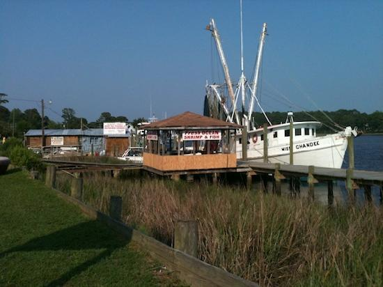 The dock area in Calabash where you purchase shrimp & other fish.