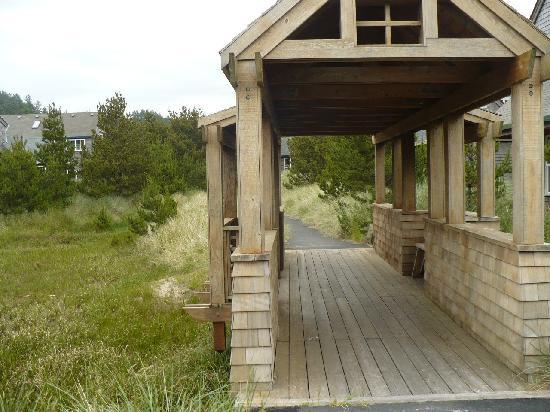 Shorepine Vacation Rentals: Bridges with bench, for resting and enjoying view.