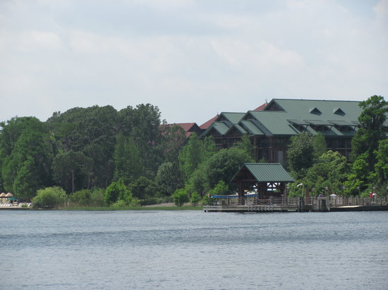 Boulder Ridge Villas at Disney's Wilderness Lodge: view of resort from the ferry