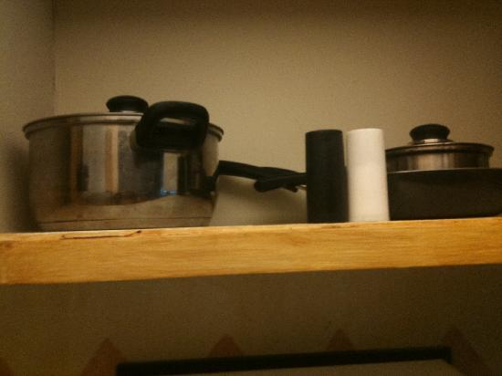 Hotel Pepper Tree: pots, pans, salt and pepper.