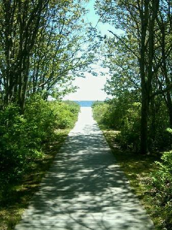 Cape Elizabeth, เมน: walk way onto the beach