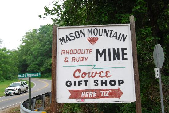 Cowee Gift Shop & Mason Mountain Mine : Look For This Sign