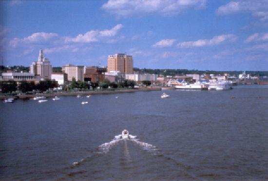 View of downtown Davenport on the Mississippi River from Centennial Bridge