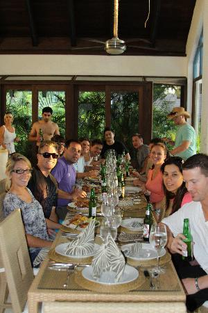 Casa de Campo Resort & Villas : Eating Luz's yummy food inside the Villa. Lots of happy faces and happy bellies :)