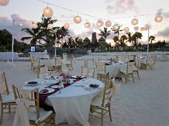 Secrets Maroma Beach Riviera Cancun Wedding Reception With Chinese Lanters On