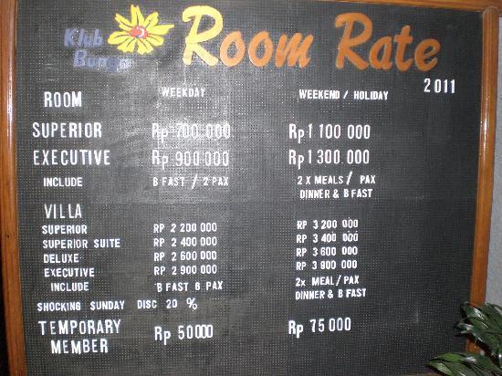 Room Rate Picture Of Klub Bunga Batu Tripadvisor