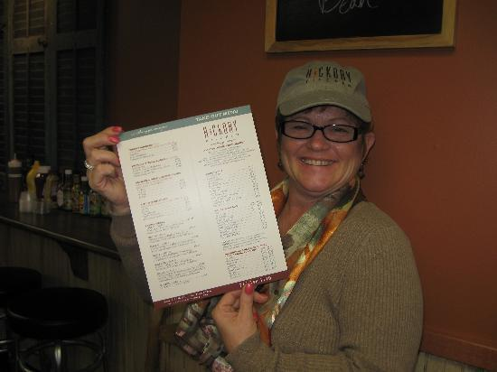 Hickory Kitchen: our menu, as displayed by Sue!