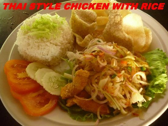 ปังกอร์, มาเลเซีย: rice with thai chicken, by island one cafe, pangkor.