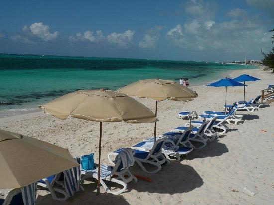 Reef Residences on Grace Bay: Umbrellas and loungers on the beach