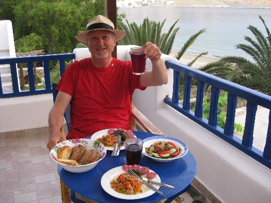 Levrossos Beach Apartments: A light evening meal, with half a kilo of red wine
