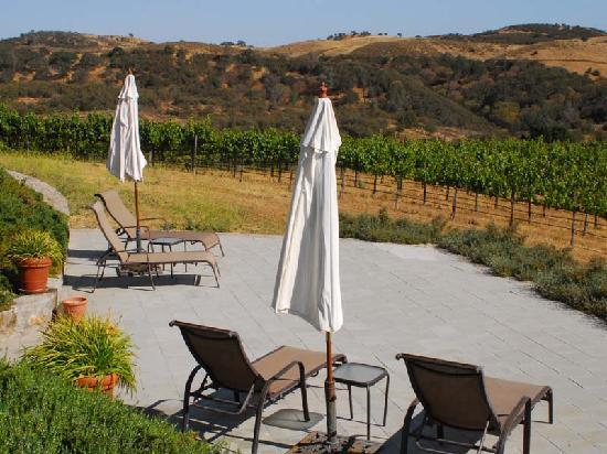 Inn at the Pinnacles Bed and Breakfast: Lower patio overlooking Brosseau Vineyards