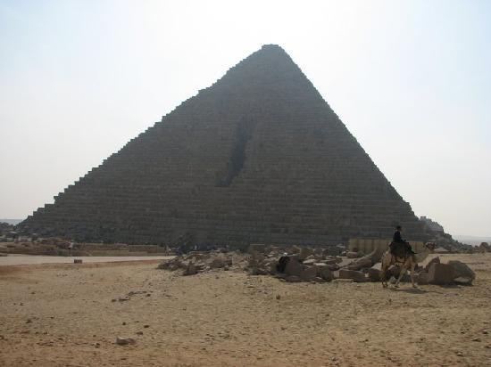 Mikerinos Pyramid: Menkaure's pyramid north face showing the gash of failed demolition