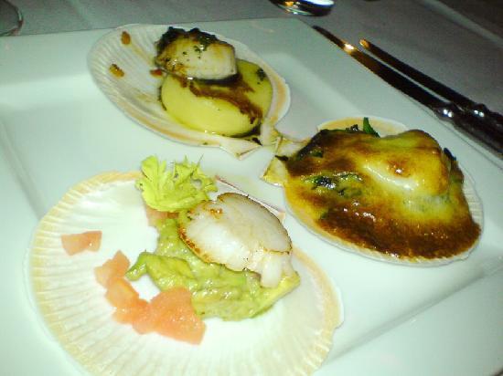 "Gala Restaurant: Gala's signature ""scallops three-ways"" dish"