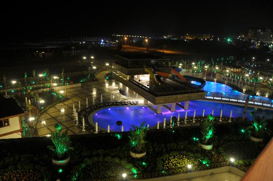 Crystal Palace Luxury Resort & Spa: The Water Slides and Beach at Night