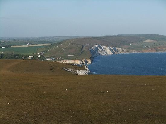 The Golf House: View of the Military road and Compton Bay from Tennyson Point