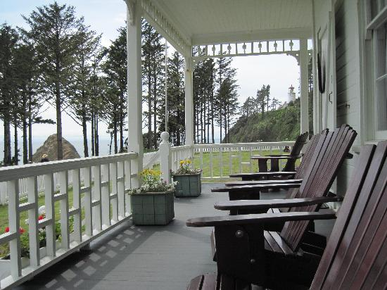 Heceta Head Lighthouse Bed And Breakfast: The Front Porch With The  Adirondack Chairs.