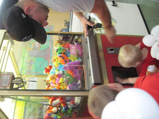 Family Kingdom Amusement Park: Win little stuffed toys for the kids for a quarter...doesn't take much sometimes:)