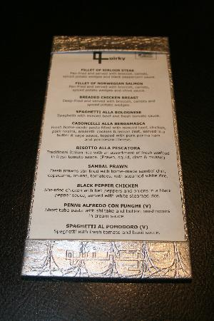 The Quincy Hotel by Far East Hospitality: An example of the Quincy dinner menu.