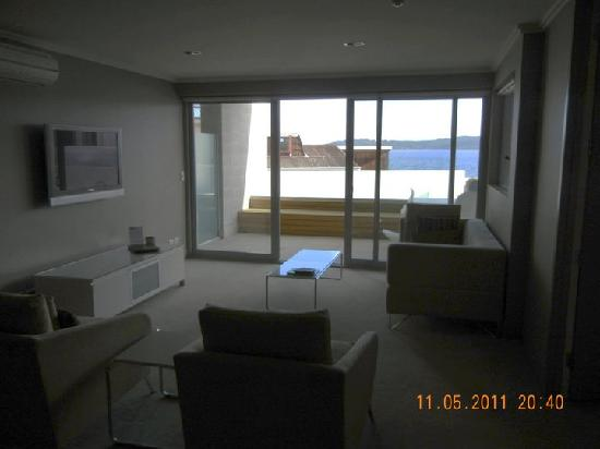 Sacred Waters Taupo Luxury Apartments : The living space and view