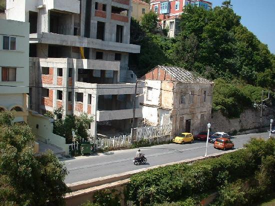 Hotel Rhodos Horizon Resort: view from  hotel room derelict building&noisy road