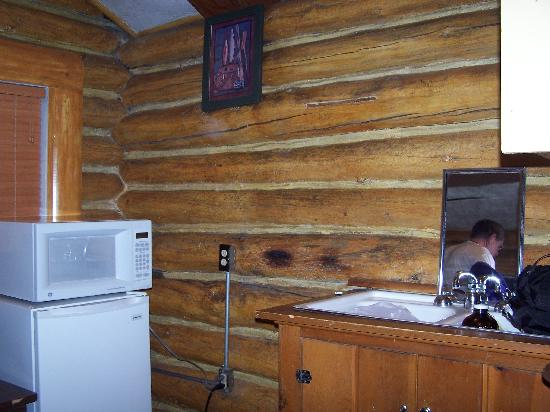 The 'kitchen' area in a Hadley's Motel cabin, such as it is