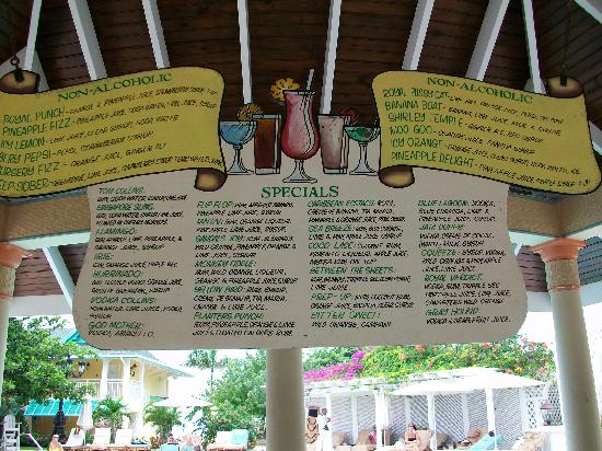 Drink Menu Picture Of Sandals Royal Caribbean Resort And