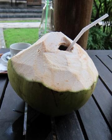 Sukun Bali Cottages: Young coconut on the porch
