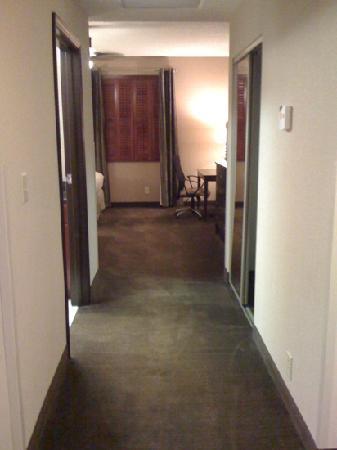 هوموود سويتس باي هيلتون إنديانابوليس: one bedroom suite. no door but a hallway leading to room. bathroom on left thru door
