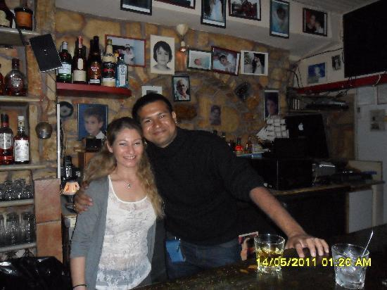 The Flaming Greek Garden : My husband with Ahanasios- our angle bartender
