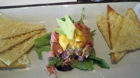 The Vineyard Wine Bar: Tuna Tartare - with a wonderful spicy wasabi dressing, topped with mago sorbet