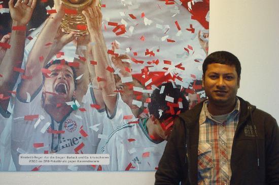 Allianz Arena: Infront of a poster of Bayern Munich Triumph
