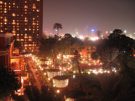 Cairo Marriott Hotel & Omar Khayyam Casino: View from my balcony, at night