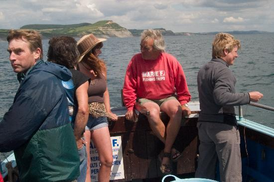 Lyme Regis, UK: Aboard Marie F with Harry and customers
