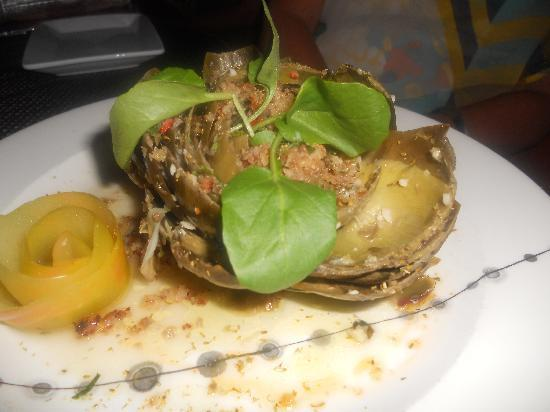 Scampo: Whole Baked Artichoke with Sausage Crumbs, Mint and Fennel Pollen