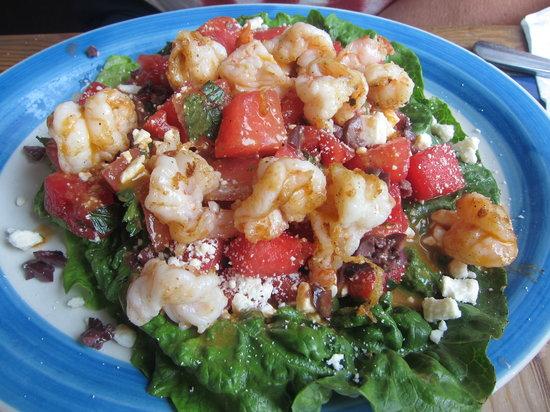 Blue Plate Cafe: Grilled shrimp on mint-melon salad