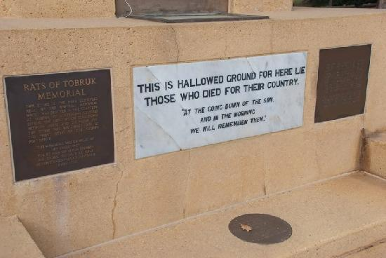 Rats of Tobruk Memorial: Inscriptions
