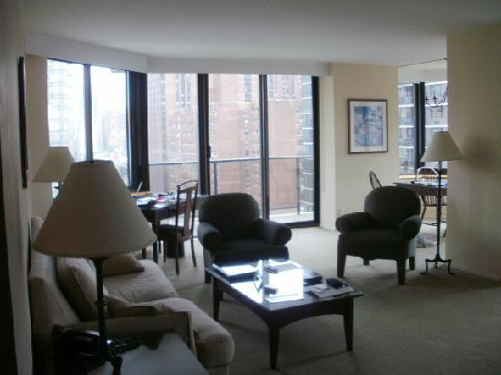 The Marmara Manhattan: The living room, with the view