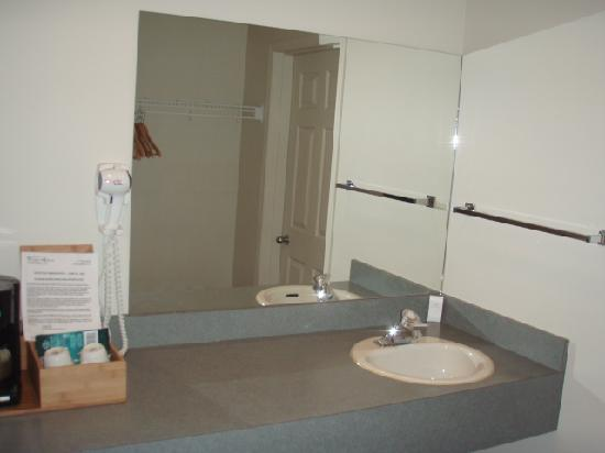 Cariboo Lodge Resort: See the hairdryer.  This is just outside the shower.  Always nice to have a separate sink area f