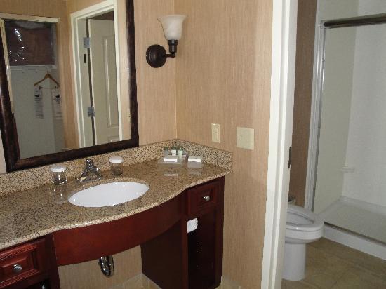 هوم وود سويتس باي هيلتون سان لويس بارك: Bathroom with background photo of same day drycleaning service