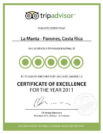 La Manta: Our Certificate of Excelence!!