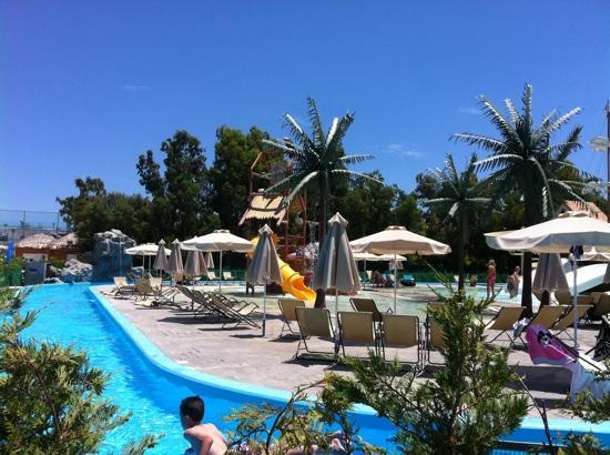 Holiday Village Rhodes: The activity side, lazy river and slides.
