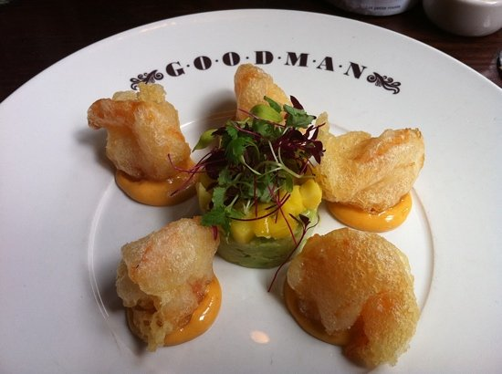 Goodman: best starter I've had. tempura prawns with avocado and mango salsa