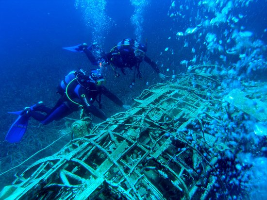 "Blue Fin Divers Naxos Greece: Wreck ""Arado"" seaplane"