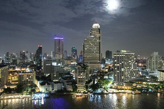 The Peninsula Bangkok: Night view taken from our balcony room on 22nd floor