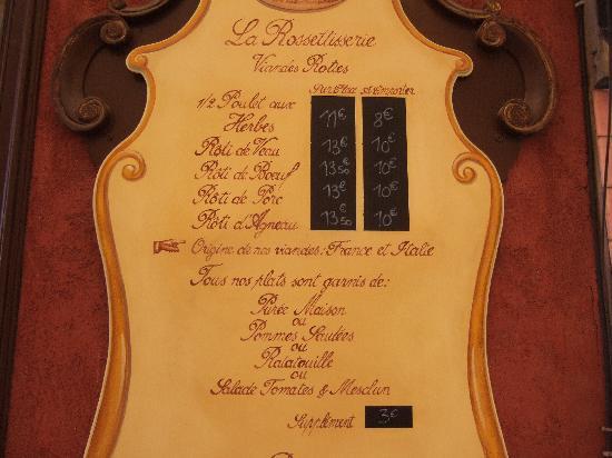 La Rossettisserie: The Menu