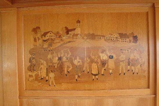 Bayerische Seen Schifffahrt: Wood Inlaid wall on Utting Ferry